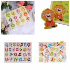 4 Patterns Wooden Peg Jigsaw Puzzles Baby Toddler Preschool Educational Toy Gift