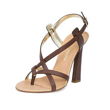 Dsquared2 Women D2 Brown Leather Strappy Stiletto Heels Slingback Sandals Shoes