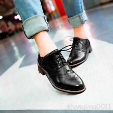 Womens Lace Up Oxford Retro Brogues Low Heel Wing tip Girl Preppy Shoes AU Sz