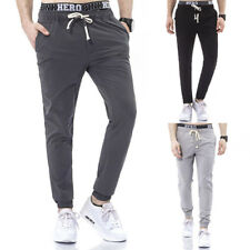 Mens Male Solid Stylish Fitted Jogger Training Baggy Harem Long Trousers Pants