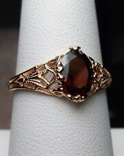 1ct Oval Red Garnet Solid 14k Rose Gold Victorian Filigree Ring {Made To Order}