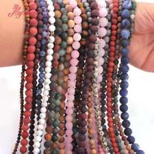 """4,6,8,10,12mm Stone Round Matte Frost Loose Beads for Jewelry Making Strand 15"""""""
