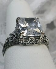 3ct White Gem Sterling Silver Victorian Filigree Ring Size {Made To Order} #206