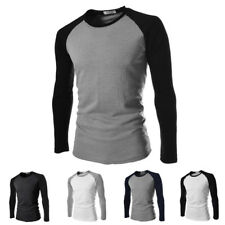 Men's Casual Slim Fit Long Sleeve Contrast Color Crew Neck T-shirt Tops Shirts