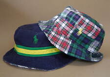 NWT $55 POLO RALPH LAUREN S M WATCH HILL REVERSIBLE BUCKET HAT Navy Plaid