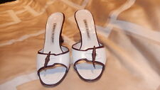 Manolo Blahnik $745 Brown & White Leather Mules Slip-on sz 5.5 M Made in Italy