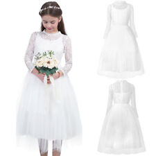 Girls Vintage Lace Princess Dress Party Wedding Pageant Formal Flower Girl Dress