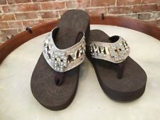 Montana West Grey Cross-1 Jeweled Thong Wedge Sandals New