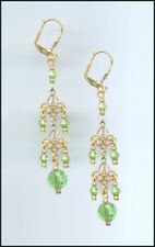 Delicate Gold Filigree Earrings made with Swarovski PERIDOT GREEN Crystals
