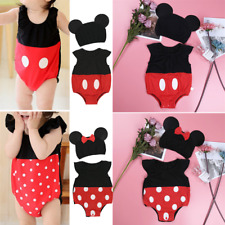 Baby Cartoon Minnie Mickey Costume Infant Boy Girl Romper Bodysuit+Hat Outfits