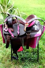 Western Cordura Trail Barrel Pleasure Horse SADDLE Bridle Tack Pink 4983