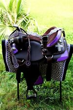 Western Cordura Trail Barrel Pleasure Horse SADDLE Bridle Tack Purple 4985