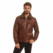 Excelled Men's Big and Tall Lambskin A-2 Flight Jacket with Faux Curly Sherpa