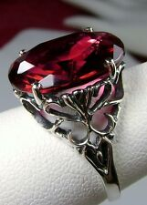 8ct Oval*Red Ruby* Sterling Silver Vintage Revival Filigree Ring {Made To Order}