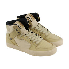 Supra Vaider Mens Beige Canvas High Top Lace Up Sneakers Shoes