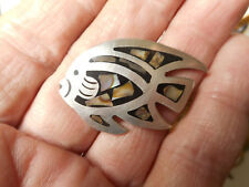 Sterling Silver Angel Fish w/ MOP Enamel Inlay Vintage Button Bkmk Mexico 925
