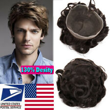 Invisible Skin &Lace Hair Replacement System Toupee Hairpieces Wig for Men F505