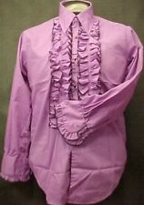 VINTAGE RUFFLED TUXEDO TUX SHIRT RETRO PURPLE WITH BLACK MADE IN USA MANY SIZES