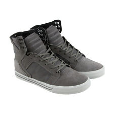 Supra Skytop Mens Gray Leather & Canvas High Top Lace Up Sneakers Shoes