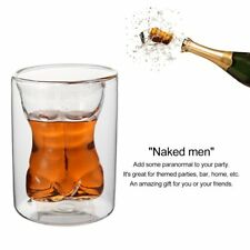 Unique Double Layer 150ml Naked Male Body Muscle Glass Cup Drinking Mug PM