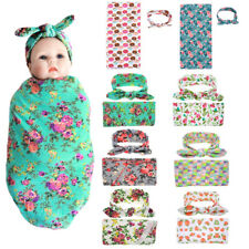 Newborn Baby Infant Swaddle Blanket Sleeping Rug Swaddle Muslin Wrap + Headband