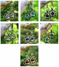 Eco Friendly ~ Antique Brass / Recycled Vintage Glass ~ Flower Pierced Earrings