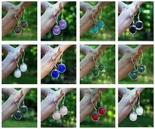 Eco Friendly ~ Sterling Silver / Recycled Vintage Glass ~ Orb Pierced Earrings