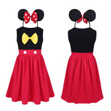 Kids Baby Girls Minnie Dress Outfit Ears Headband Cos Costume Set Birthday Party