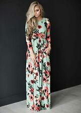 Ladies Floral Printed Long Sleeve Boho Dress Christmas Evening Party Maxi Dress