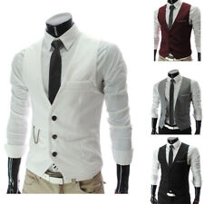 Men's Formal Business Casual Dress Vest Suit Slim Fit Tuxedo Waistcoat Coat NEW