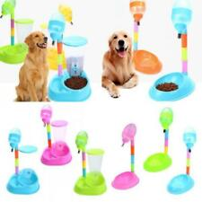 New Pet Dog Cat 2 In 1 Stand-type Water Fountain Bottle Food Bowl Dish Feeder