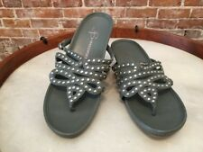 B Makowsky Joni Steel Blue Leather Studded Thong Sandals New