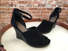 B Makowsky Andrea Ruched Black Suede High Heel Wedge Ankle Strap Sandal New