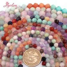 "6,8,10mm Natural Quartz Crystal Faceted Stone Loose Beads Jewelry Making 15"" DIY"