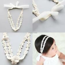 Baby Girls Kids Toddler Rhinestone Floral Lace Bow Hairband Stretch N4U8