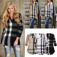 Womens Long Sleeve Striped Plaid Blouse Ladies Check T-Shirt Loose Casual Tops