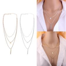 Gold/Silver Bar Lariat Necklaces 3 Layers Chain Pendants Necklace Jewelry Women