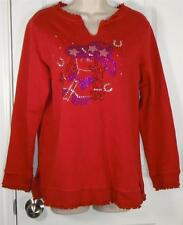 Quacker Factory Red Studded Cowgirl Sweatshirt Shirt Sz S M Warm Womens EC