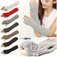 Women Ladies Arm Long Gloves Mitten Knit Warmer Winter Fingerless Solid Gloves