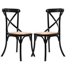 Set of 2 Elegant Cross Back Solid Wood Rattan Seats Dining Chairs Home Furniture