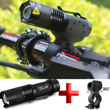 15000LM Zoomable Focus T6 LED Flashlight Torch+360° Mount Clip Holder Hunting