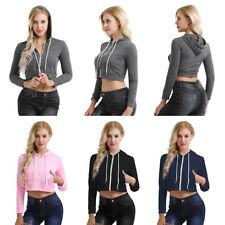 Fashion Women Soft Casual Long Sleeve Drawstring Hooded Pullover Blouse Crop Top