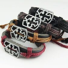 New 6-12pcs Leather  Vintage Hollow Cross Women Mens Bracelets Bangles Wholesale