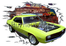 1969 Yellow Chevy Blown Camaro a Custom Hot Rod Diner T-Shirt 69 Muscle Car Tee