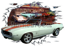 1969 White Chevy Camaro Convertible Hot Rod Diner T-Shirt 68 Muscle Car Tees