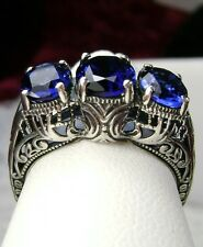 *Sapphire* Sterling Silver Filigree Edwardian Cocktail Ring Size {MadeTo Order}