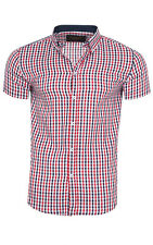 glo-story Check Shirt Men Short Sleeve Red mcs-3826 Leisure