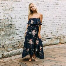 Women Sexy Off Shoulder Floral Print Ruffled Maxi Dress DZ8801 03