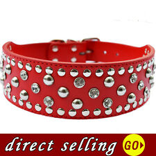 Crystal Studded Large Dog Collar Personalized 2Inch Wide Leather Collar Pitbulls