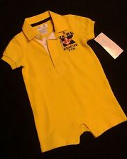 NWT Ralph Lauren Baby Boys Outfit Neon Yellow Shortall Romper 3 & 6 Mo